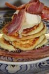 Banting Flapjacks with Bacon & Triple Cream